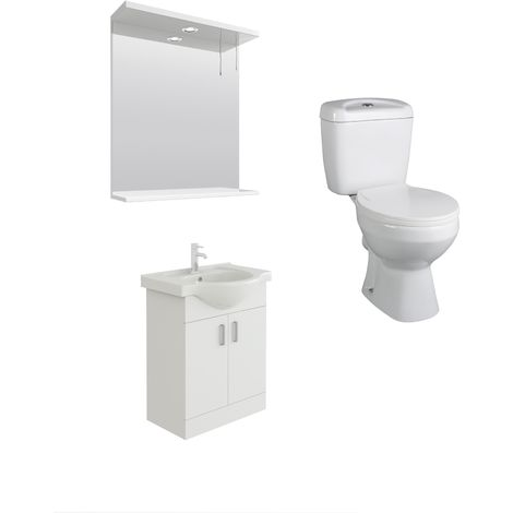 VeeBath Linx 650mm White Vanity Basin Unit, Base Toilet & Wall Mirror Cabinet