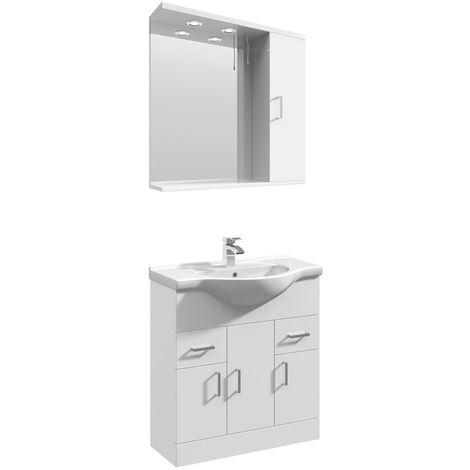 VeeBath Linx 750mm Floor Standing Vanity Unit & Mirror Cabinet Bathroom Set