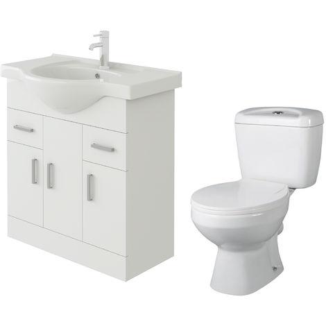 VeeBath Linx 750mm White Gloss Floor Vanity Basin Cabinet & Base Toilet Set