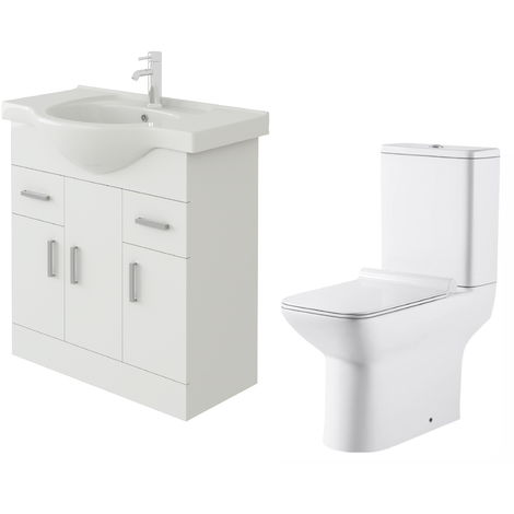 VeeBath Linx 750mm White Gloss Floor Vanity Basin Cabinet & Geneve Toilet Set