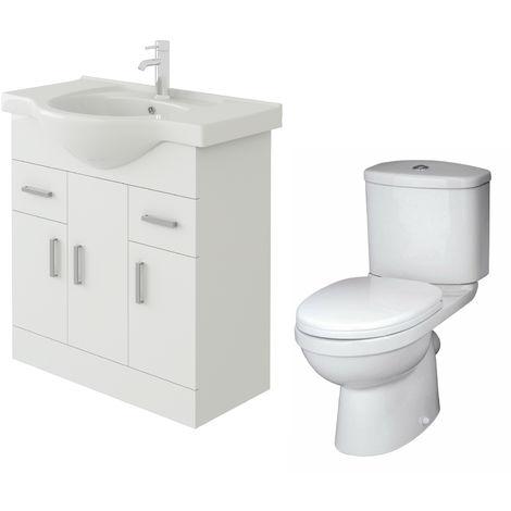VeeBath Linx 750mm White Gloss Floor Vanity Basin Cabinet & Sleek Toilet Set