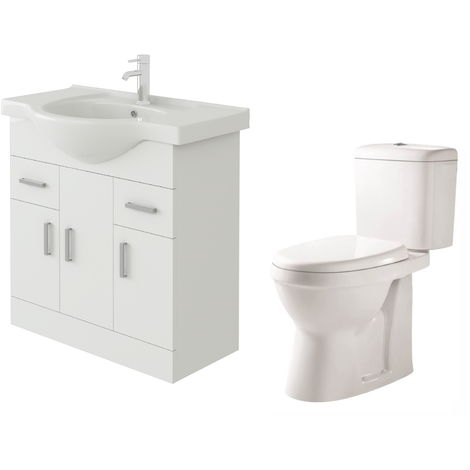 VeeBath Linx 750mm White Gloss Floor Vanity Basin Cabinet & Verona Toilet Set