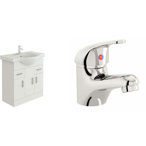 VeeBath Linx 750mm White Gloss Vanity Sink Unit & Mono Chrome Basin Mixer Tap