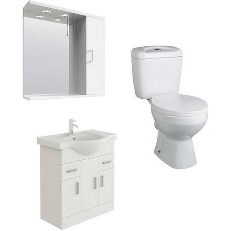 VeeBath Linx 750mm White Vanity Basin Unit, Base Toilet & Wall Mirror Cabinet