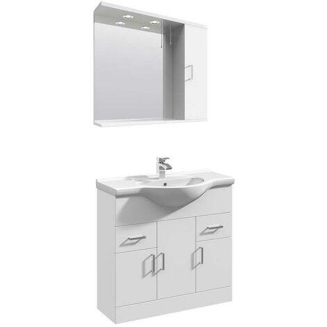 VeeBath Linx 850mm Floor Standing Vanity Unit & Mirror Cabinet Bathroom Set