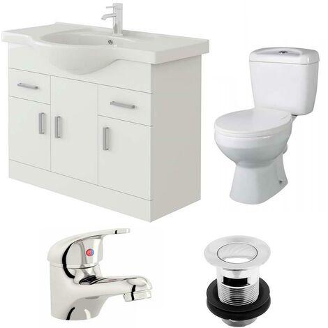 VeeBath Linx 850mm Vanity Unit Base Close Coupled Toilet & Basin Mixer Tap
