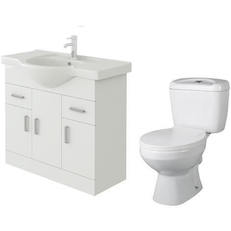 VeeBath Linx 850mm White Gloss Floor Vanity Basin Cabinet & Base Toilet Set