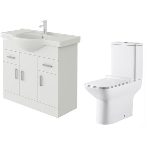 VeeBath Linx 850mm White Gloss Floor Vanity Basin Cabinet & Geneve Toilet Set