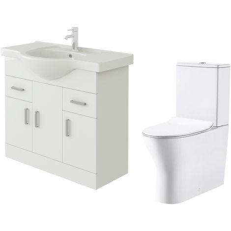 VeeBath Linx 850mm White Gloss Floor Vanity Basin Cabinet & Milan Toilet Set