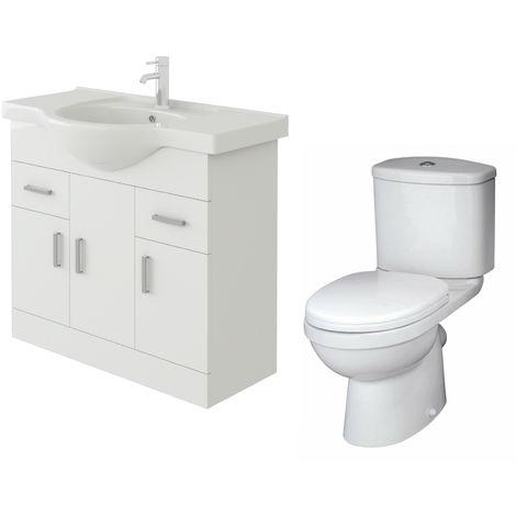 VeeBath Linx 850mm White Gloss Floor Vanity Basin Cabinet & Sleek Toilet Set