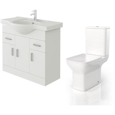 VeeBath Linx 850mm White Gloss Floor Vanity Basin Cabinet & Venice CC Toilet