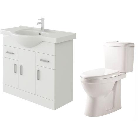VeeBath Linx 850mm White Gloss Floor Vanity Basin Cabinet & Verona Toilet Set