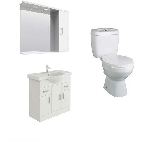 VeeBath Linx 850mm White Vanity Basin Unit, Base Toilet & Wall Mirror Cabinet