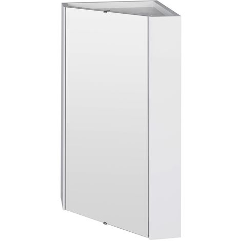 VeeBath Linx Bathroom Corner Mirror Wall Cabinet White Gloss Shelf Unit - 460mm