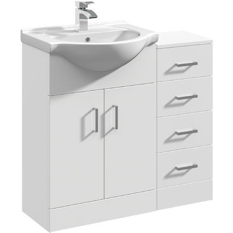 VeeBath Linx Bathroom Furniture Set Vanity Basin Unit Drawer Cabinet - 850mm