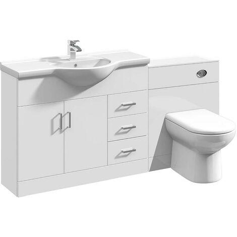 VeeBath Linx Bathroom Vanity Unit WC Toilet Pan Cistern Furniture Set - 1650mm