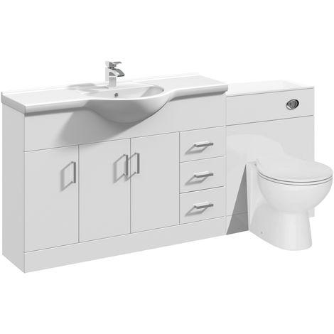 VeeBath Linx Bathroom Vanity Unit WC Toilet Pan Cistern Furniture Set - 1700mm
