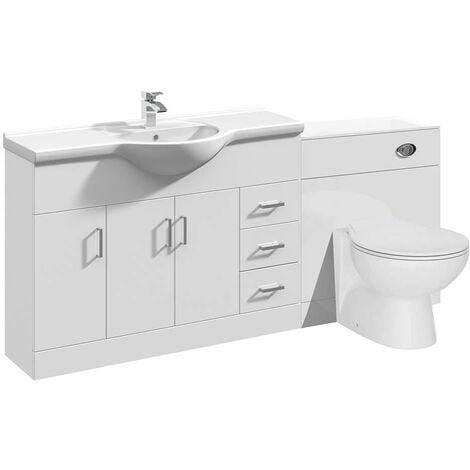 VeeBath Linx Bathroom Vanity Unit WC Toilet Pan Cistern Furniture Set - 1800mm