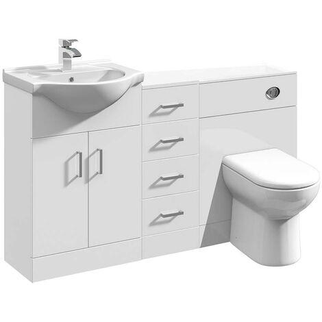 VeeBath Linx Bathroom Vanity WC Toilet Storage Cupboard Furniture Set - 1350mm