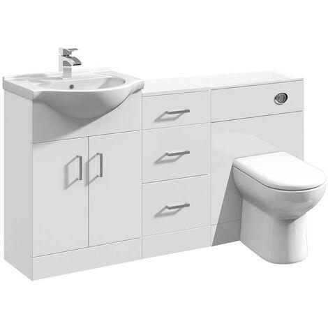 VeeBath Linx Bathroom Vanity WC Toilet Storage Cupboard Furniture Set - 1400mm