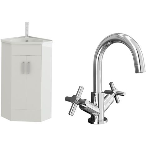 VeeBath Linx High White Gloss Corner Vanity Sink Unit & Chrome Basin Mixer Tap