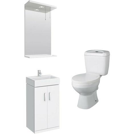 VeeBath Linx Mini White Cloakroom Vanity Unit, Base Toilet & Wall Mirror Cabinet