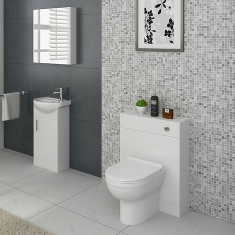 VeeBath Linx Vanity Basin Cabinet & Back To Wall WC Toilet Unit Furniture Set