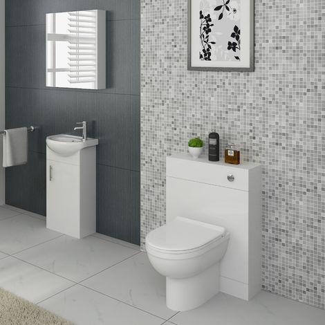 VeeBath Linx Vanity Basin Unit, Mirror Cabinet & Back To Wall Toilet Furniture