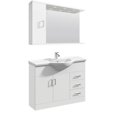 VeeBath Linx Vanity Basin Unit Mirror Cabinet Bathroom Furniture Set - 1050mm