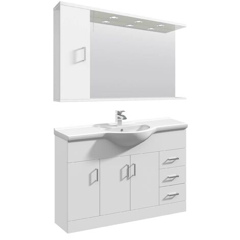 VeeBath Linx Vanity Basin Unit Mirror Cabinet Bathroom Furniture Set - 1200mm