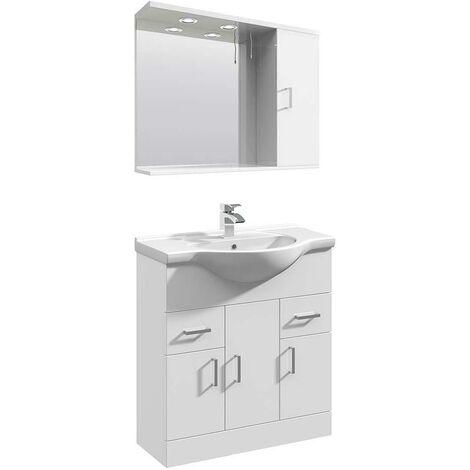 VeeBath Linx Vanity Basin Unit Mirror Cabinet Bathroom Furniture Set - 750mm