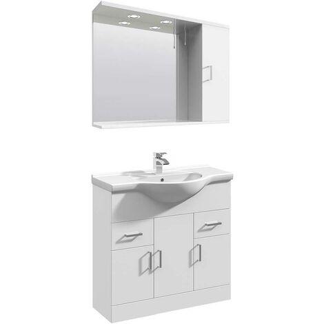 VeeBath Linx Vanity Basin Unit Mirror Cabinet Bathroom Furniture Set - 850mm