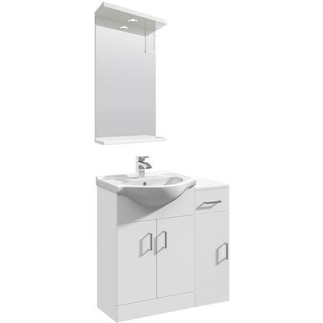 VeeBath Linx Vanity Basin Unit Mirror Cabinet Bathroom Furniture Suite - 800mm