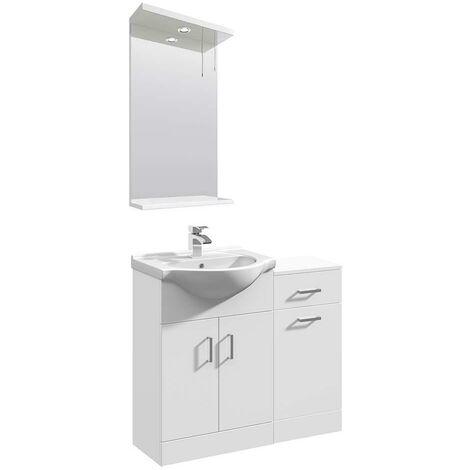 VeeBath Linx Vanity Basin Unit Mirror Cabinet Bathroom Furniture Suite - 850mm