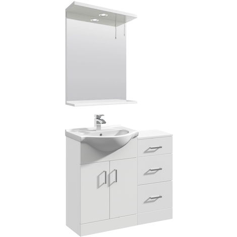 VeeBath Linx Vanity Basin Unit Mirror Cabinet Bathroom Furniture Suite - 900mm