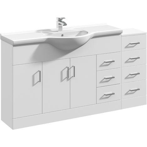 VeeBath Linx Vanity Basin Unit Storage Cabinet Bathroom Furniture Set - 1500mm