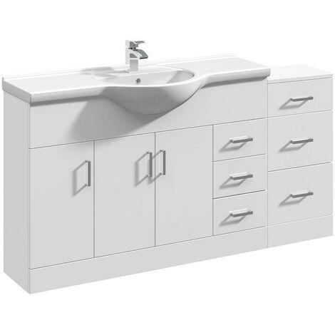 VeeBath Linx Vanity Basin Unit Storage Cabinet Bathroom Furniture Set - 1550mm
