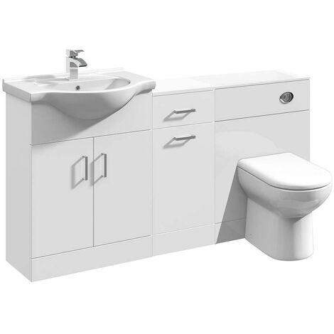 VeeBath Linx Vanity Basin Unit Storage Cabinet WC Toilet Furniture Set - 1500mm