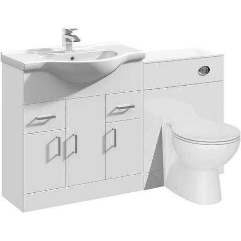 VeeBath Linx Vanity Bathroom Furniture Set WC Toilet Unit Pan Cistern - 1250mm