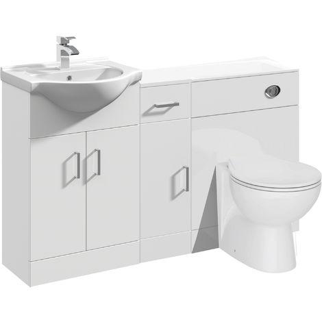 VeeBath Linx Vanity Bathroom Furniture Set WC Toilet Unit Pan Cistern - 1300mm