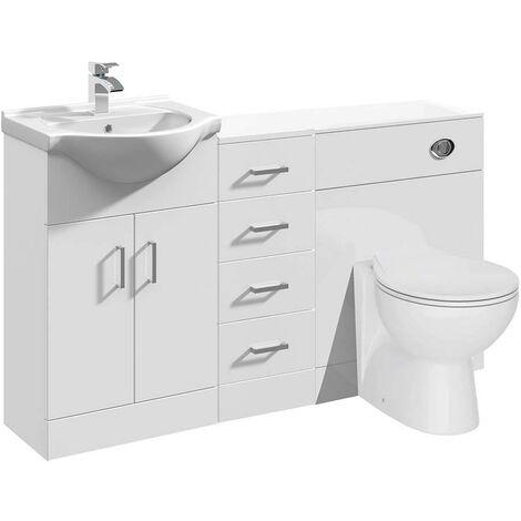 VeeBath Linx Vanity Bathroom Furniture Set WC Toilet Unit Pan Cistern - 1350mm