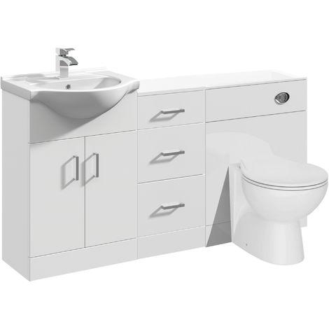 VeeBath Linx Vanity Bathroom Furniture Set WC Toilet Unit Pan Cistern - 1400mm