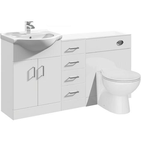 VeeBath Linx Vanity Unit WC Toilet Storage Cabinet Bathroom Furniture - 1450mm
