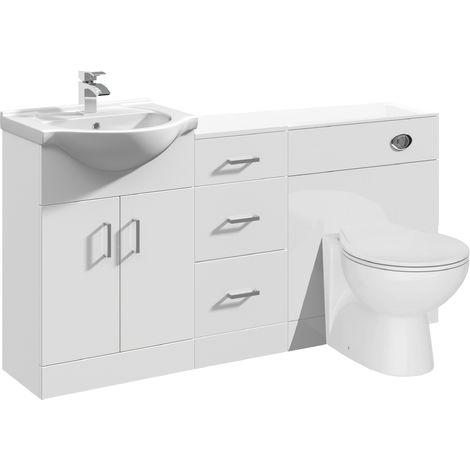 VeeBath Linx Vanity Unit WC Toilet Storage Cabinet Bathroom Furniture - 1500mm