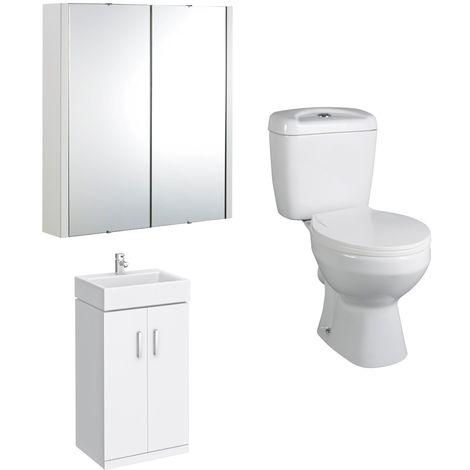 VeeBath Linx White Cloakroom Vanity Unit, Toilet & Wall Hung Mirror Cabinet Set