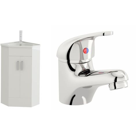 VeeBath Linx White Gloss Corner Vanity Sink Unit & Mono Chrome Basin Mixer Tap