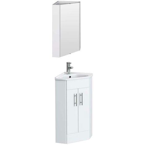 VeeBath Linx White Gloss Corner Vanity Unit Ceramic Basin & Wall Mirror Cabinet