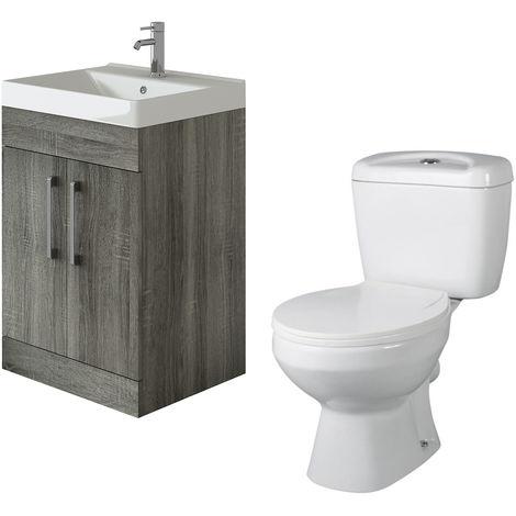 VeeBath Lumin Avola Grey 600mm Floor Vanity Basin Cabinet & Base Toilet Set