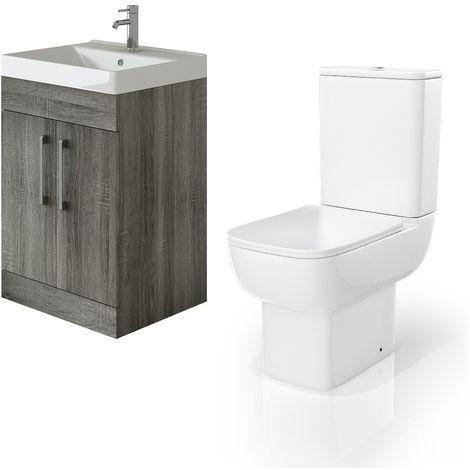 VeeBath Lumin Avola Grey 600mm Floor Vanity Basin Cabinet & Florence Toilet
