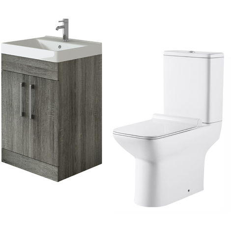 VeeBath Lumin Avola Grey 600mm Floor Vanity Basin Cabinet & Geneve Toilet Set